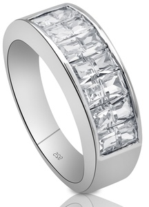 Men's Women's Unisex Sterling Silver .925 Ring Band Featuring Clear Invisible and Channel Set Cubic Zirconia (CZ) Stones, Platinum Plated.