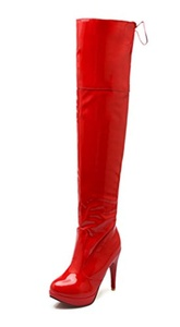 YE Women's Patent Leather High Heel Platform Stiletto Lace up Over Above the Knee Thigh High Boots Red Sole Dance Shoes