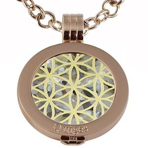 Quiges - Women Stainless Steel Necklace with 25mm Coin Locket and Coin Tree of Life/Flower of Life #839