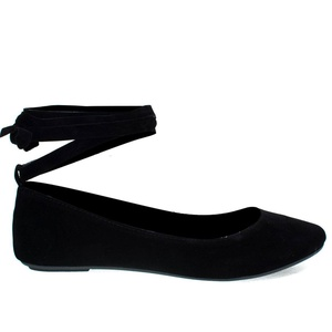 Chantel41S Black Ballet Ballerina Round Toe Flats w Leg Wrap Laces. Women Shoes -7.5