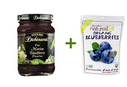 Dickinson's Pure Preserves Marion Blackberry -- 10 oz, ( 5 PACK ), Nature's All Foods Organic Freeze-Dried Raw Blueberries -- 1.2 oz