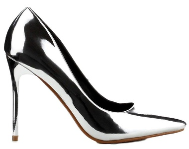 CR Kitana-1 Pointy Toe Stiletto High Heel Shiny Mirror Pump Shoe Metallic Silver 7.5