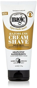 Magic Razorless Cream Shave Light Fresh Scent 6oz Tube (6 Pack) by Magic