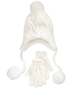 Berkshire Girls' Pom-Pom Hat & Gloves Set