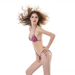 TOP-3 Women's Triangle Push Up Tie Back Halter Pink 2 PCS Bikini (XX-Large)