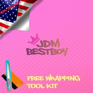 Free Tool Kit EZAUTOWRAP 3D Pink Carbon Fiber Textured Car Vinyl Wrap Sticker Decal Film Sheet - 48