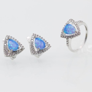 925 Silver Plated Crystal Sapphire CZ Teardrop Necklace & Matching Dangle Earrings Jewelry Set