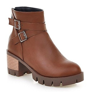 CHFSO Women's Fashion Solid Round Toe With Buckle Pull On Mid Chunky Heel Platform Ankle Boots Brown 7.5 B(M) US