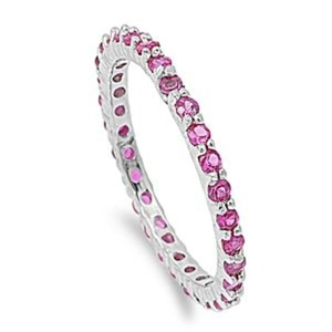 2mm Sterling Silver Stackable Simulated RUBY Eternity Engagement Ring 4-10