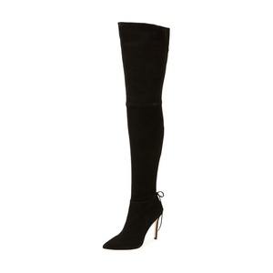 YDN Women Suede Boots for Women Heel Knee High Stilettos Pointed Toe Thigh Heels Lace Black size 13
