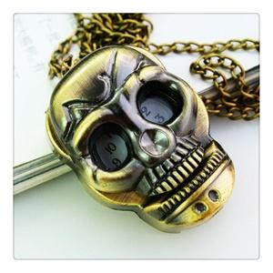 Bronze Skull Quartz Pocket Watch Necklace on Chain or Black
