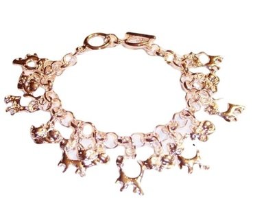 Kitty Cat Charm Bracelet C50 Rose Gold Tone