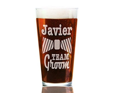 Team Groom SINGLE 16ounce Personalized Craft Pub Glass Personalized w/ Name His Pint Man Men Glasses for Groomsmen Best Man Usher, Bachelor Gift, Groom's Crew Entourage Party Bridal Favor