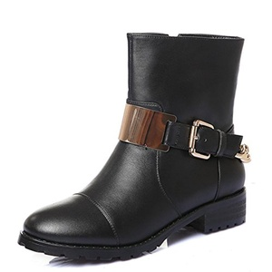 Nine Seven Genuine Leather Women's Round Toe Chunky Heel Buckle Chain Handmade Riding Boot (7, black)