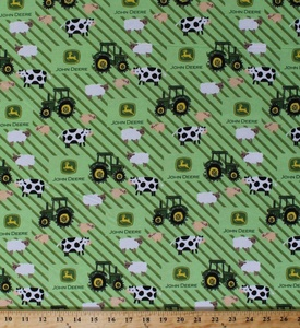 John Deere Tractors Tractor Logo Pigs Sheep Cows Farm Animals on Stripes Flannel Fabric Print by the Yard (54806-6470710)
