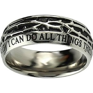 Ring - Crown Of Thorns - Christ My Strength - Sz 12 by Stainless Steel
