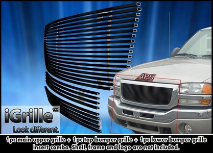 Black Stainless Steel eGrille Billet Grille Grill For 2003-2006 GMC Sierra 1500/2500HD/3500 Combo