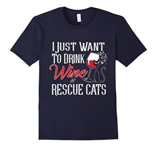Men's I just want to drink wine and rescue cats T-shirt 3XL Navy