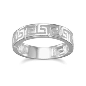 Sterling Silver Band Ring, 5mm wide, Greek Key Design, Sizes 6-9