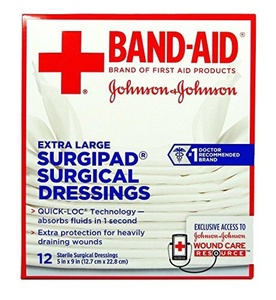 Johnson & Johnson Red Cross Surgipad Surgical Dressings, 5 Inch x 9 Inch, 12 Count (Pack of 2) by Johnson & Johnson Red Cross
