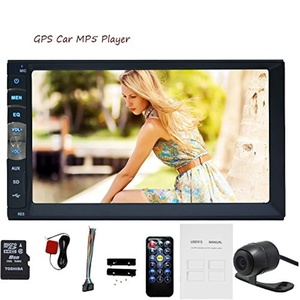 Free Camera with 7inch Universal 2din Car Radio Stereo GPS Navigation with 8GB Card HD 1080P Digital Touch Screen MP5 Player Dash Autoradio Bluetooth Car Entertainment USB/TF FM AM Aux Input Steering Wheel Remote Control