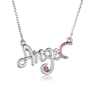 Rinhoo White Gold Plated Angel Engraved Crystal Pendant Necklace