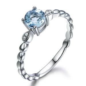 6mm Round Cut Natural Aquamarine Engagement Ring,14K White Gold,Wedding Promise Band,Anniversary Ring