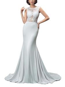 M Bridal Women's Lace Appliques Illusion Scoop Neck Long Mermaid Wedding Dress