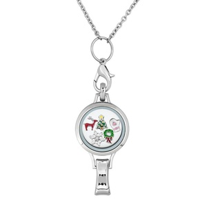 Q&Locket Christmas Tree Snowflake Floating Charms In Glass Locket Lanyard Necklace ID Badge Holder