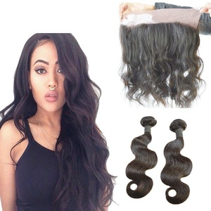 Dingli Hair 360 Lace Frontal With 2 Bundles Brazilian Virgin Hair Body Wave With Closure Unprocessed Virgin Hair Extensions With Baby Hair Natural Hairline (10 10 bundles + 10 closure)
