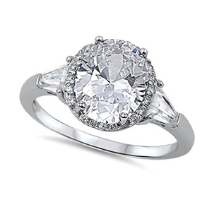 Cocktail Halo Wedding Engagement Ring Oval Cut Baguette Cubic Zirconia 925 Sterling Silver