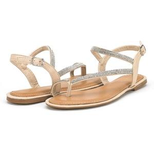 DREAM PAIRS ATLAS Women's Elegant Gladiator Rhinestone Ankle Strap Toe Ring Flat Sandals