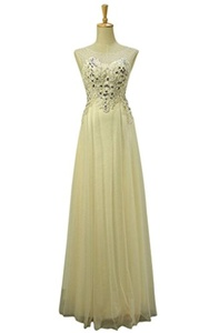 JoyVany Lace Beaded Bridesmaid Dress Tulle Long Party Gowns with Cap Sleeves Yellow Size 24W