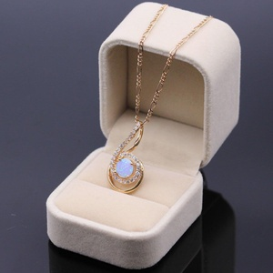 Luck Pendant Necklace Jewelry Sapphire Blue Opal CZ Gold Plated Pendant