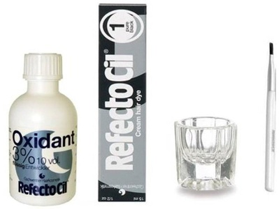 REFECTOCIL COLOR KIT- Pure Black Cream Hair Dye+ Liquid Oxidant 3% 1.7oz + Mixing Brush + Mixing Dish by RefectoCil