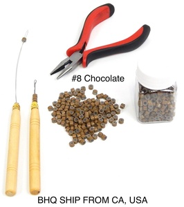 Hair Extension Remove Pliers + Pulling Hook + Bead Device Tool Kits + 500pcs Micro Rings (Chocolate)