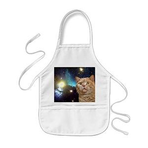 black T Children Apron Space Cat White Kids Apron Kitty