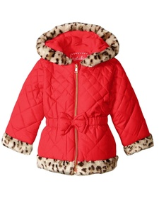 Pistachio Toddler & Little Girls Red Puffer Jacket Leopard Faux Fur Trim Coat