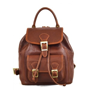 Leather Backpack For Women With Pocket And Adjustable Straps Color Brown