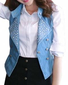 Cruiize Women's Denim Vest Lapel Rivet Outerwear Jean Jacket Sky blue S
