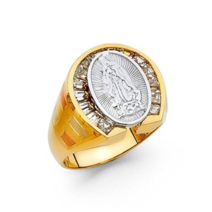 Two Tone 14K Solid Yellow Gold Thick Cubic Zirconia Religious Men's Band Ring, Size 7.5