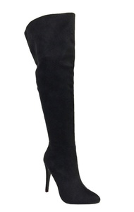 SANDRA! Women's Sexy Pointed Toe Over The Knee Thigh High Faux Suede High Heel Stiletto Boots