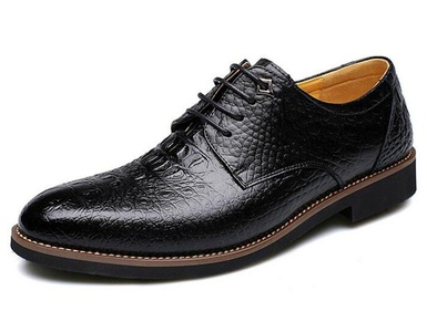 Nyngei Men's Formal Wingtip Casual Oxford Lace-Up Wedding Tuxedo Dress Shoes (US6.5, Black)