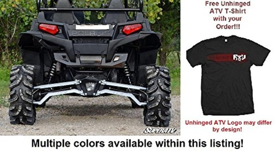 Bundle: 2 Items SuperATV Polaris RZR XP 900 High Clearance Boxed Rear Suspension Links and Unhinged ATV T-shirt (Large, White)