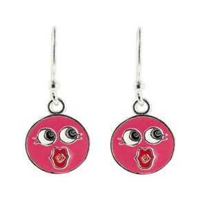 Tomas Sterling Silver Emoji Collection - Pink Smiley Blowing Kiss Hook Earrings