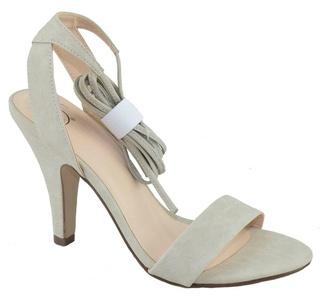 Delicious Women Heels Pumps Open Toe Lace Up Leg Wrap Dress Sandals Fitness Gray Stone 8.5