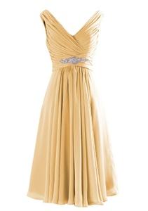 Angel Formal Dresses Women's V Neck V Back Rhinestone Chiffon Bridesmaid Dress Evening Prom Dress(12,Gold)
