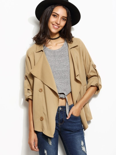 Drape Collar Roll Tab Sleeve Short Trench in Khaki