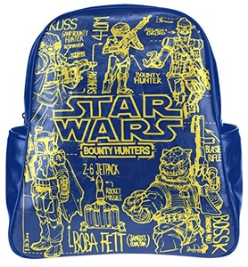 PU Leather Causul Multi-pocket Backpack Daypack Bookbag School Bag with Bounty Hunters Pattern