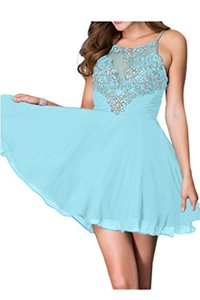 Winnie Bride Sexy Rhinestones Prom Dress Short Juniors Homecoming Cocktail Dress-8-Sky Blue